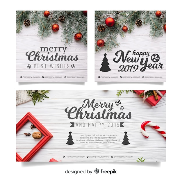 Modern Christmas Banners With Photo Vector Free Download