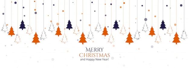 화려한 나무와 현대 크리스마스 카드 무료 벡터