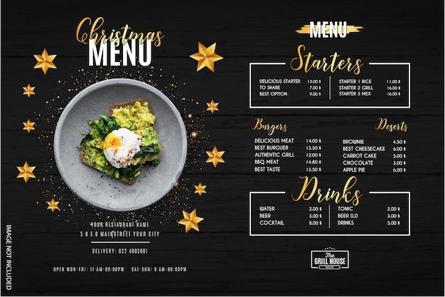 Modern christmas menu restaurant template Free Vector