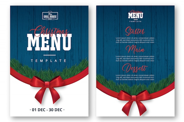 Modern christmas menu template with red ribbon Free Vector