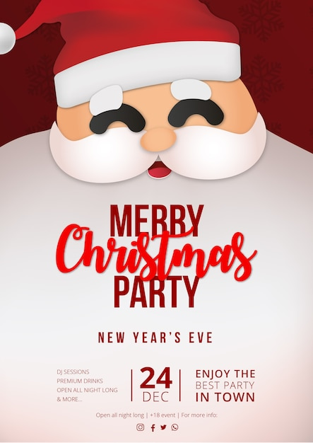 Modern christmas party poster with claus background Free Vector