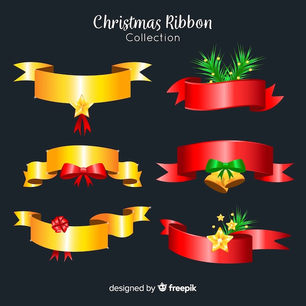 Modern christmas ribbon collection with realistic design Free Vector