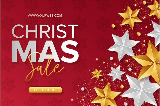 Modern christmas sale background with stars Free Vector