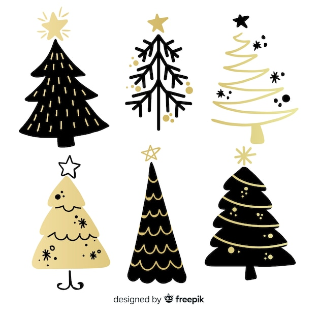 Modern christmas tree collection with abstract style Free Vector