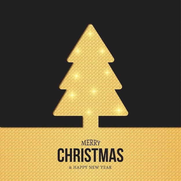 골드 텍스처와 현대 크리스마스 트리 실루엣 카드 무료 벡터