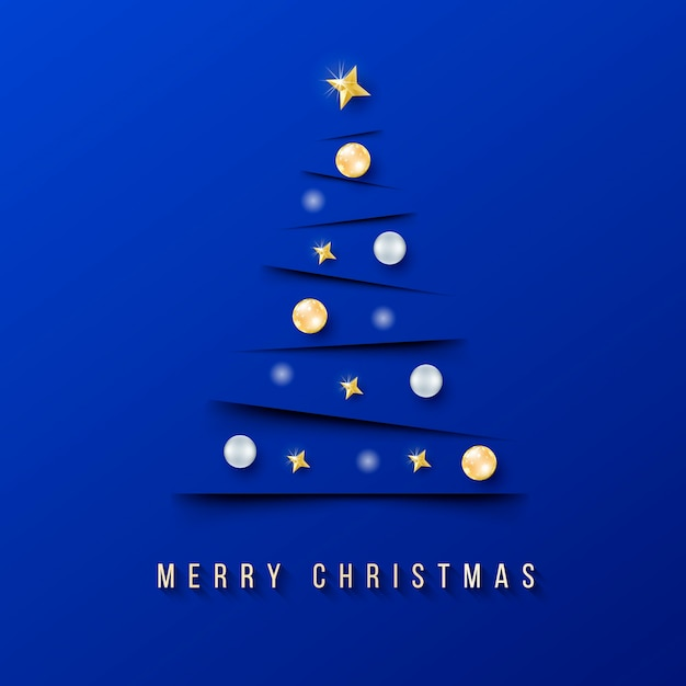 Modern chritmas banner with minimalistic christmas tree and blue background Free Vector