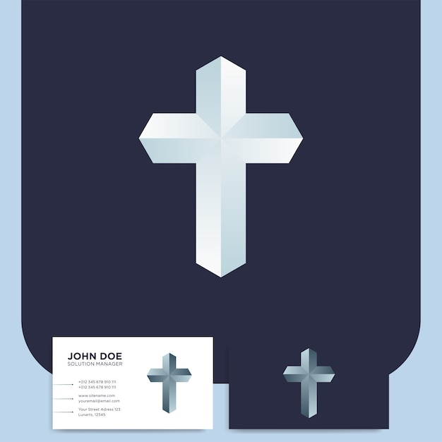 Modern church 3d cross logo Premium Vector