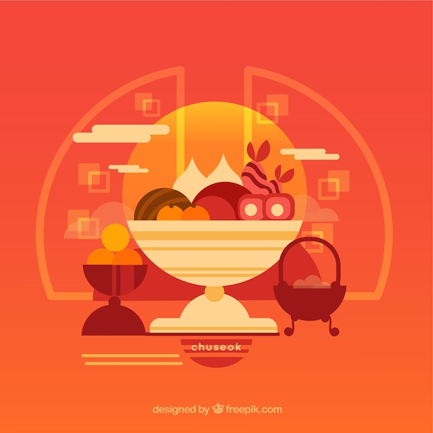 Modern chuseok composition with lovely style Free Vector