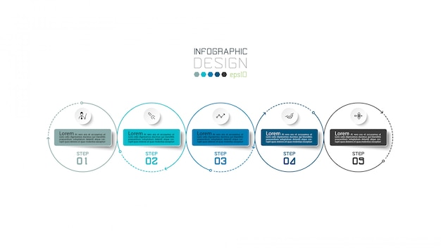 Modern circle 5 steps. infographic design. Premium Vector