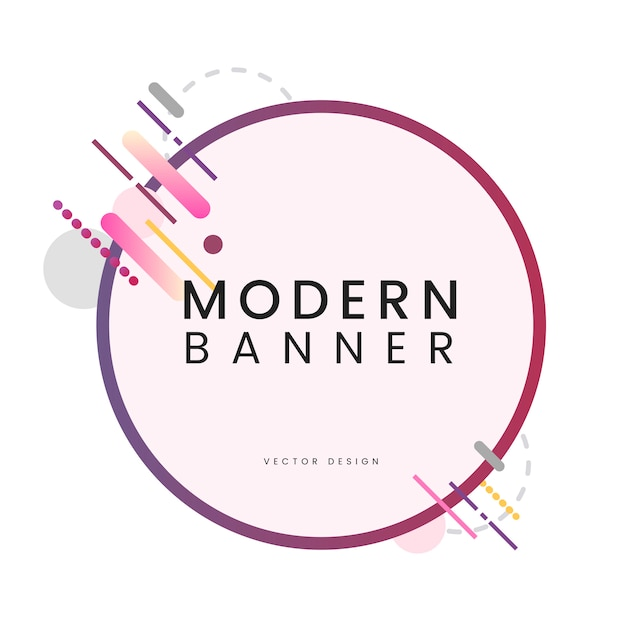 Modern circle banner in colorful frame illustration Free Vector