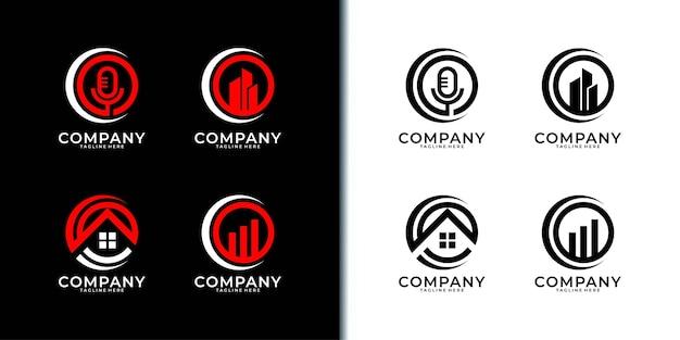 Дизайн логотипа бизнес современный круг. Premium векторы