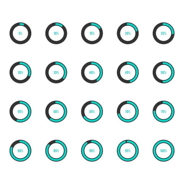 Modern circle progress bar icon set vector illustration Premium Vector
