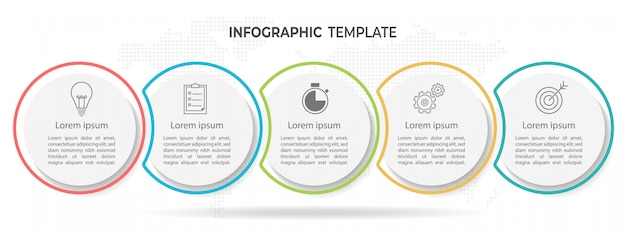 Modern circle timeline infographic template 5 options. Premium Vector
