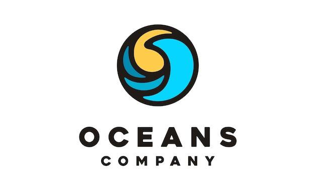 Modern circle wave symbol logo design Premium Vector