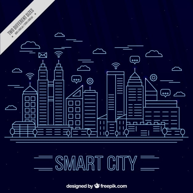 Modern city background in linear style