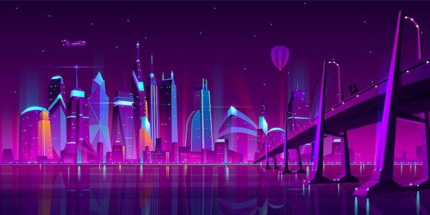 Modern city cartoon vector night landscape. Free Vector