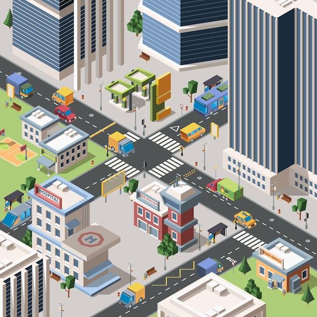 현대 도시 사거리 자세한 아이소 메트릭. 고층 빌딩, 건물 및 차량이있는 메가 폴리스 거리. 도시 풍경. 타운 인프라. 3d 스타일의 지구 장면 프리미엄 벡터