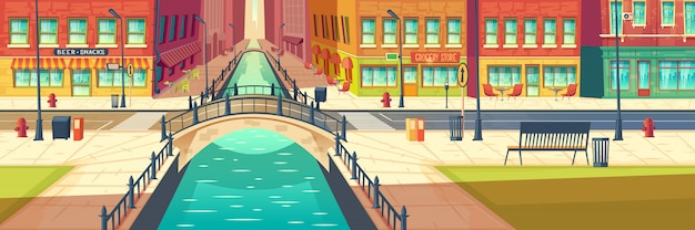 Modern city empty street cartoon Free Vector