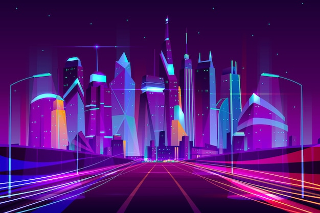 Modern city highway in street lamps light neon cartoon vector illustration Free Vector