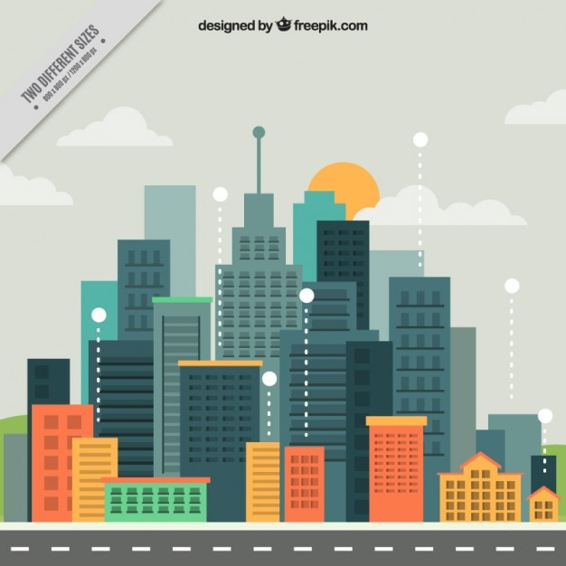 Modern city in flat design background Free Vector