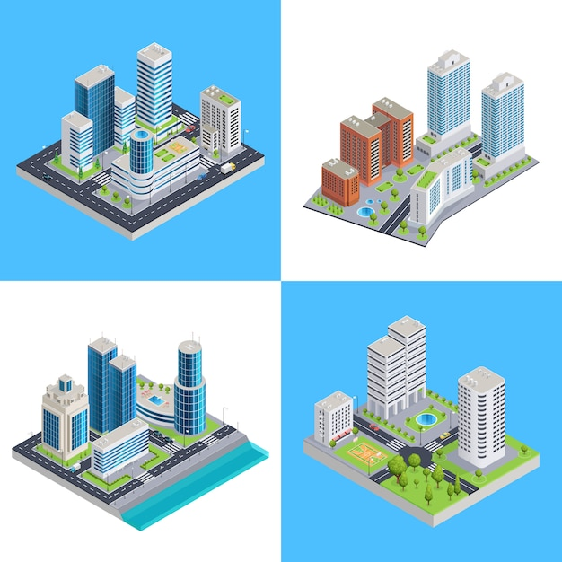 Modern city isometric compositions Free Vector