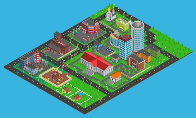 Modern city  isometric map Free Vector