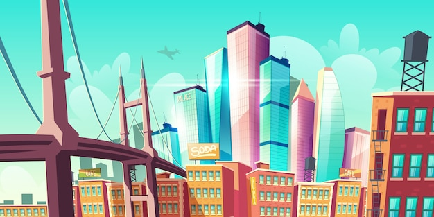 Modern city metropolis growth, street with bridge banner Free Vector