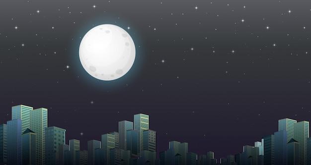 Modern city night scene Free Vector
