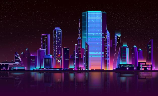 Современный город ночной горизонт неоновый мультфильм Бесплатные векторы