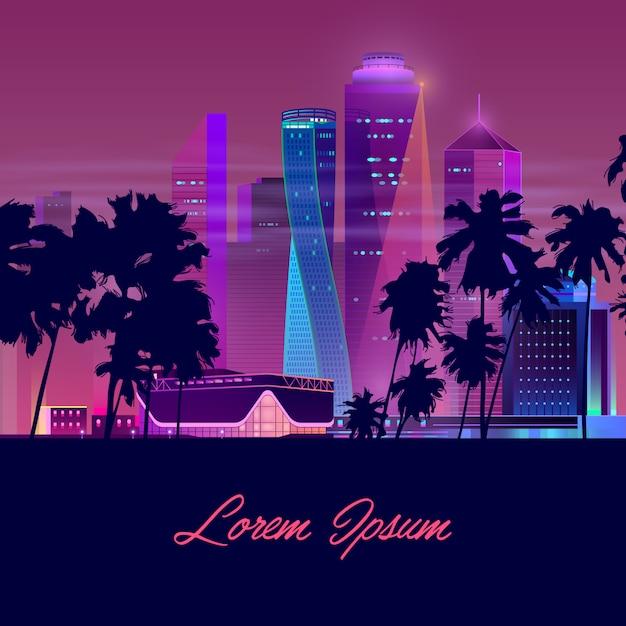 Modern city nightlife cartoon vector banner Free Vector