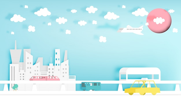 Modern city paper art style vector illustration Premium Vector
