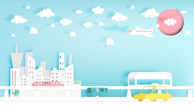 Modern city paper art style vector illustration