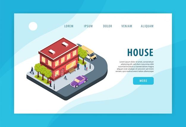 현대 도시 주거 지역 집 건물 인접 거리 모퉁이 교통 환경 개념 아이소 메트릭 웹 페이지 무료 벡터