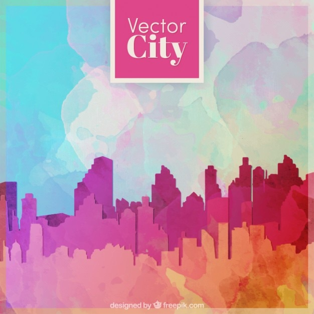Modern city silhouette watercolor background