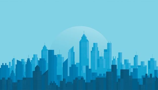 Modern city skyline background Premium Vector