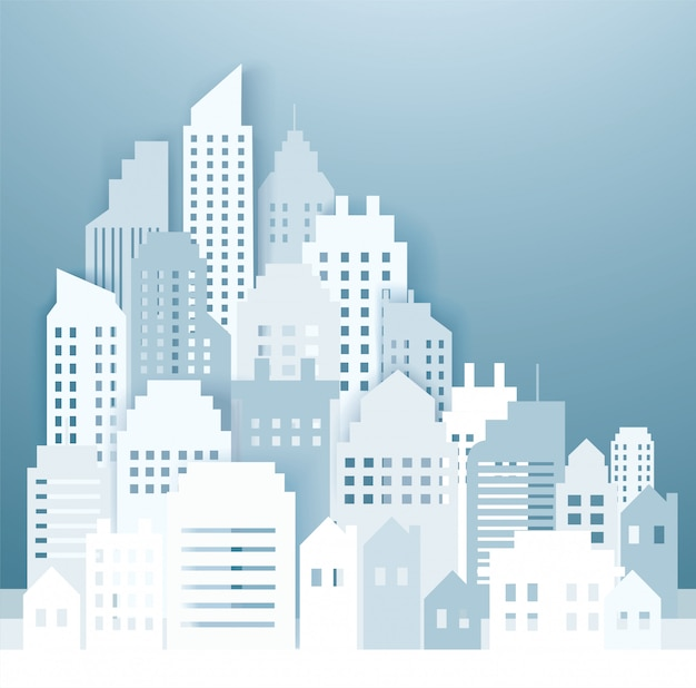 Modern city skyline backgrounds Premium Vector