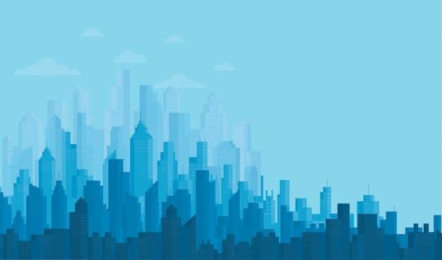 Modern city skyline backgrounds Premium Vector