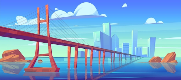 Modern city skyline view with low-water bridge Free Vector