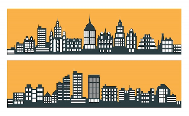 Modern city skyscrapers Premium Vector