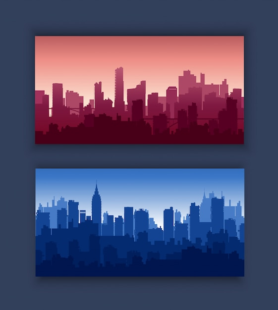 Modern city skyscrapers Premium Vector