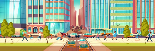 Modern city street at hour rush cartoon vector concept. people hurrying in business, townsfolk walking sidewalk, pedestrians passing crossroads, cars ride on road, stuck in traffic jam illustration Free Vector