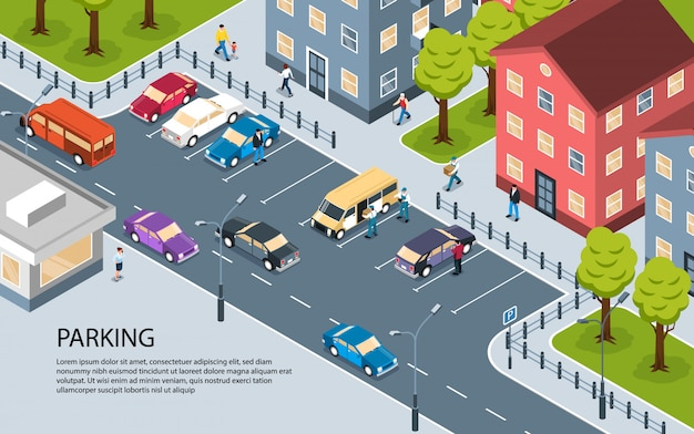 Modern city town residential area apartment district parking lot isometric view poster with informative text Free Vector