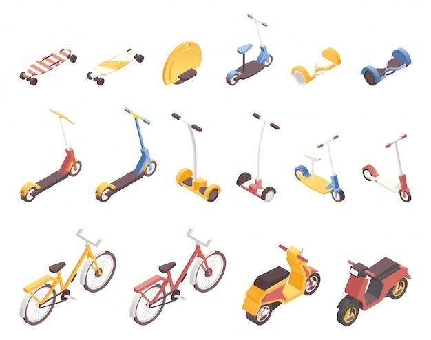 Современный городской транспорт изометрической иллюстрации набор. Premium векторы
