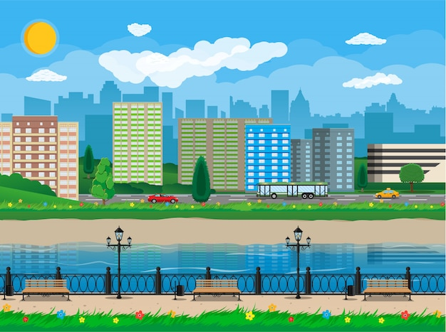 Modern city view. waterfront, river, embankment Premium Vector