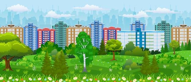 Modern city view. Premium Vector