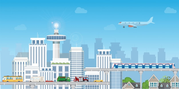 Modern city with highway road and subway train over skyscrapers . Premium Vector