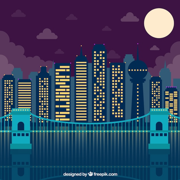 Modern city with ilumnated buildings at night\ background