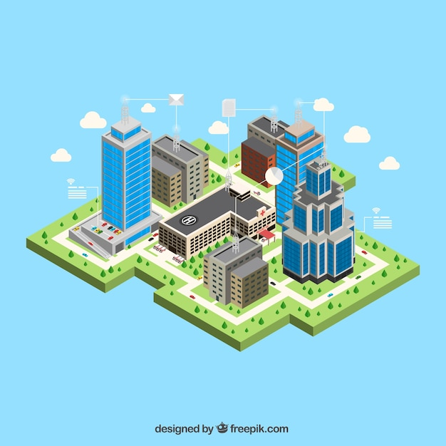 Modern city with isometric buildings Free Vector