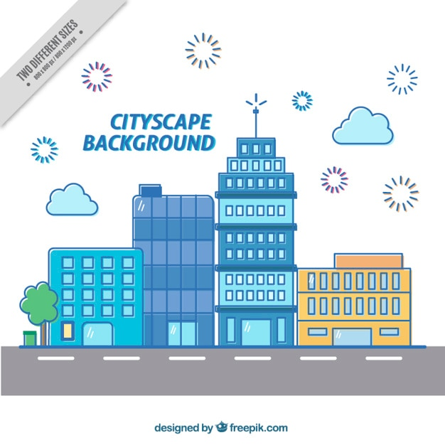 Modern cityscape background in flat\ design