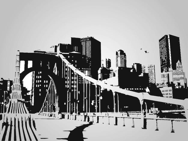 Modern cityscape vector skyline